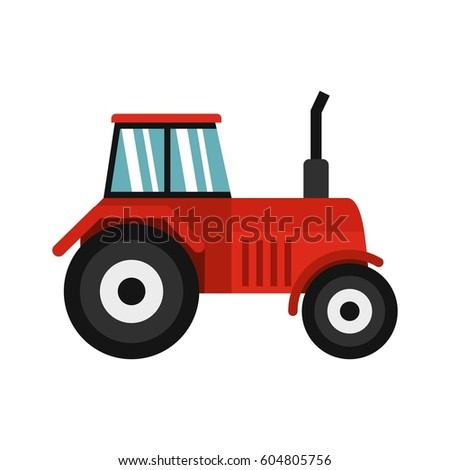 Tractor icon in flat style isolated on white background  illustration