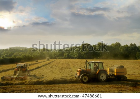 tractor in countryside - stock photo