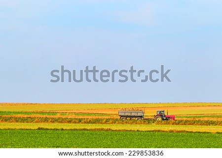 Tractor on a farmer field - stock photo