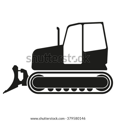 Tractor or bulldozer icon isolated on white background. Tractor grader silhouette. - stock photo