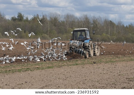 Tractor plowing, Russia, early spring - stock photo
