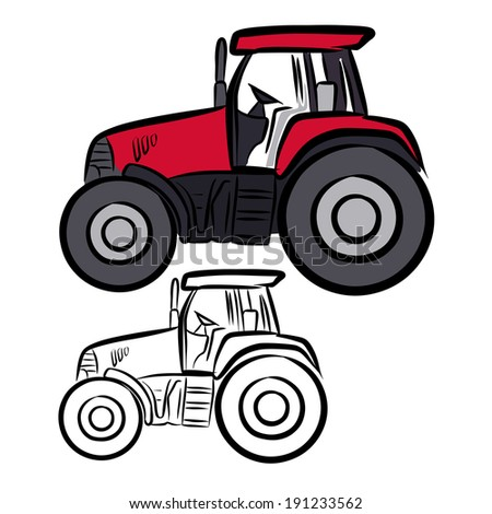 Tractor sketch on a white background.