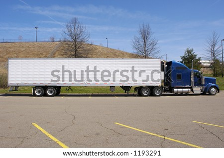 Tractor Trailer Semi Truck Side View - stock photo