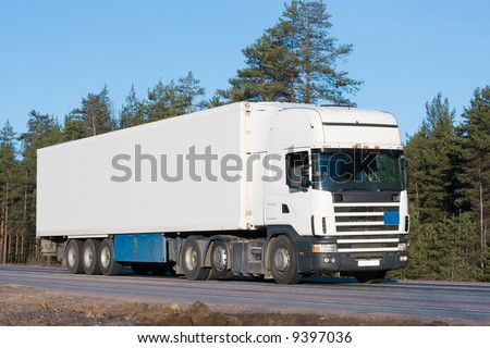 "tractor trailer truck on background of trees of ""Trucks"" series in my portfolio"