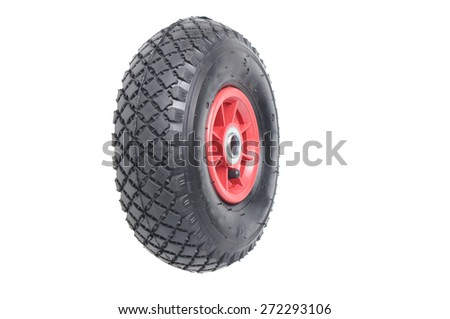 tractor wheel isolated on white  - stock photo