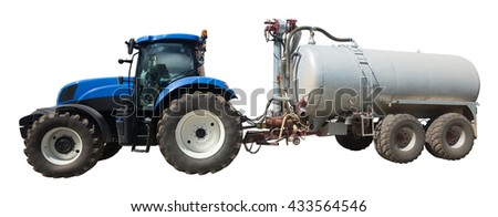 Tractor with large wheels and round tank isolated on white background