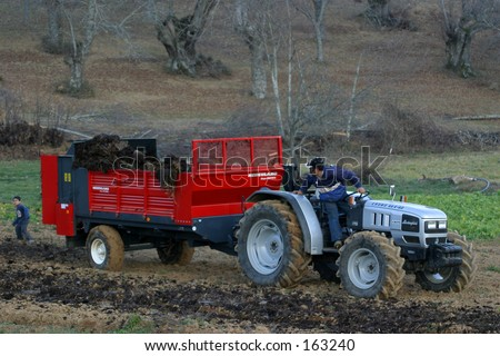 Tractor with manure distributor machine - stock photo