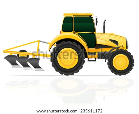 tractor with plow illustration isolated on white background - stock photo