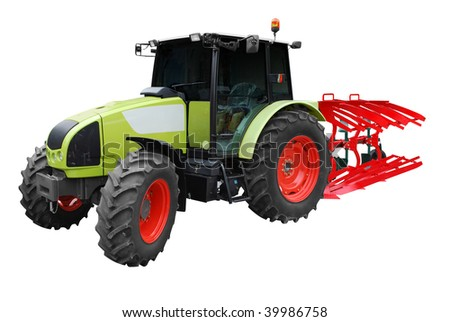 tractor with plow isolated - stock photo
