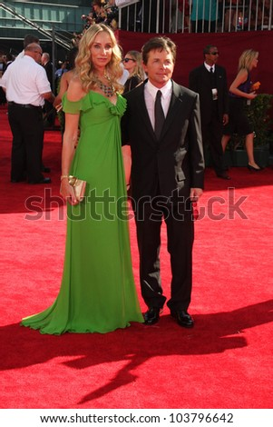 Tracy Pollan and Michael J. Fox at the 61st Annual Primetime Emmy Awards. Nokia Theatre, Los Angeles, CA. 09-20-09