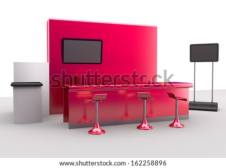 trade exhibition booth or stall. 3d render - stock photo