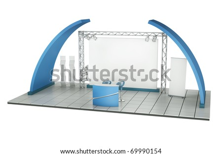 Trade exhibition stand. 3D rendered illustration - stock photo