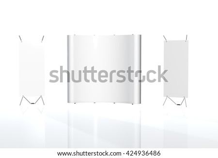 Trade exhibition stand, Exhibition round, 3D rendering visualization of exhibition equipment, Advertising space on a white background, with space for text ads