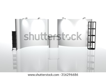 Trade exhibition stand, Exhibition Stand round, 3D rendering visualization of exhibition equipment, a set of stands