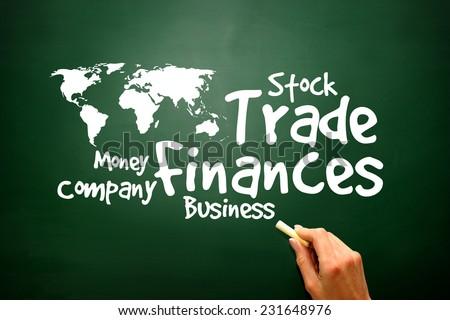 Trade, Finances Word collage on blackboard, presentation background - stock photo
