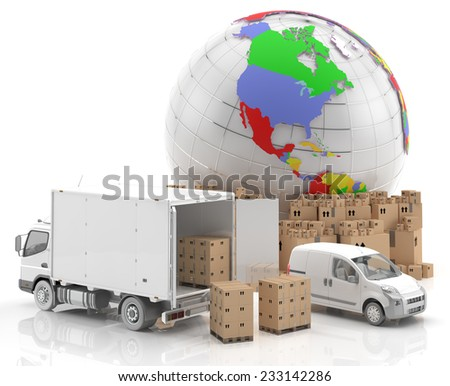Trade in Europe - Made in Europe - Transportation - Goods ready for transport, along with a truck and a van. European Symbol potential in the field of transport and distribution worldwide - 3D Render - stock photo