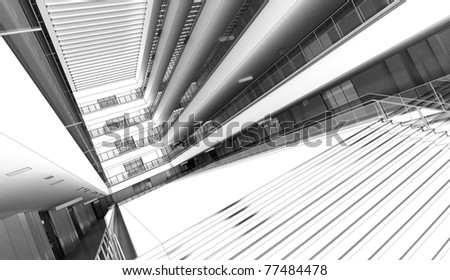 trade mall abstract interior - stock photo