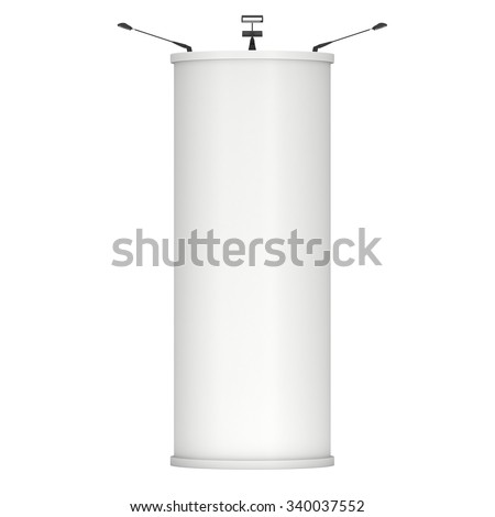 Trade show booth column white and blank. 3d render isolated on white background. High Resolution Template for your design. - stock photo