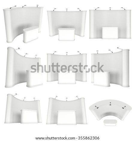 Trade show booth pop up white and blank set. 3d render isolated on white background. High Resolution Template for your design. - stock photo
