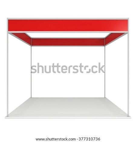 Trade Show Booth Red and Blank. Blank Indoor Exhibition with Work Paths. 3d render isolated on white background. High Resolution Ad Template for your Expo design. - stock photo