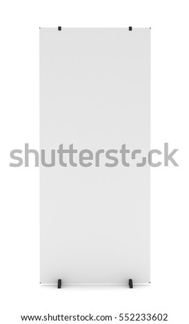 Trade show booth white and blank. Isolated on white background. Template mockup for your design. 3D illustration