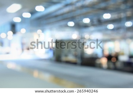 Trade show interiors generic background. Intentionally blurred editing post production. - stock photo
