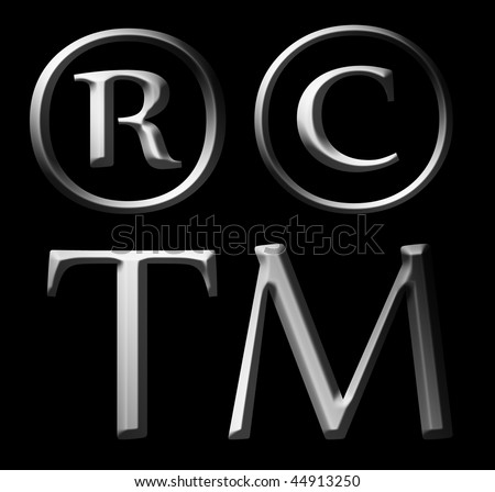 Trademark, Copyright and register symbols. Chrome and 3d illustrations - stock photo