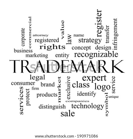 Trademark Word Cloud Concept in black and white with great terms such as brand, logo, legal and more. - stock photo