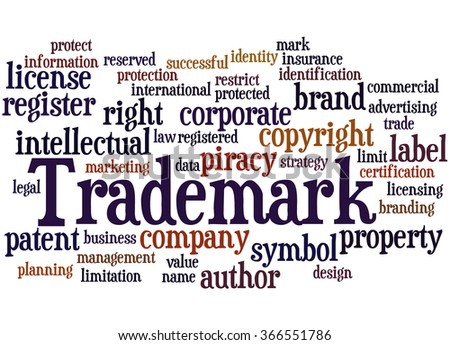 Trademark, word cloud concept on white background.
