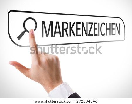 Trademarks (in German) written in search bar on virtual screen - stock photo