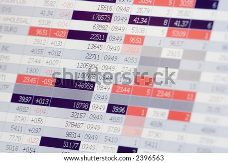 Trader's Screen (flashing lights; shallow focus; focus on left) - stock photo