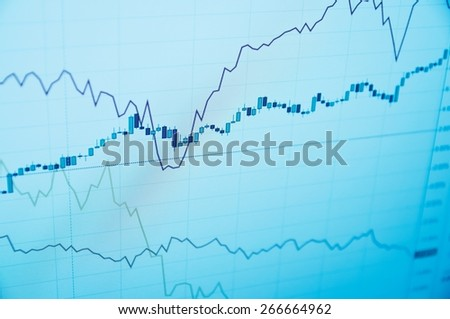 Trader Workstation. Stock chart on PC screen. - stock photo