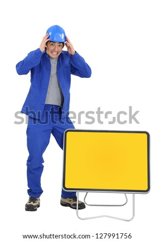 Tradesman witnessing an accident - stock photo