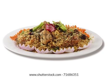 tradiional Pakistani or Indian rice chicken. - stock photo