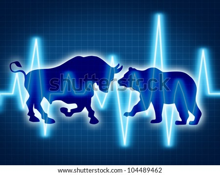 Trading and investing financial symbol with a two icons representing the bear and bull markets with a wire frame chart and ticker investing graph on a black background. - stock photo