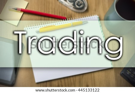 Trading - business concept with text - horizontal image