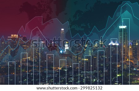 Trading graph on the cityscape at night and world map background,Business financial concept - stock photo