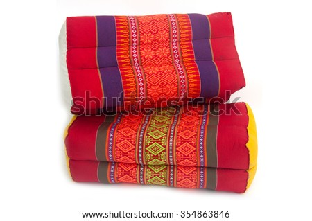 Tradition native Thai style square pillow, cushion, isolated on white background - stock photo