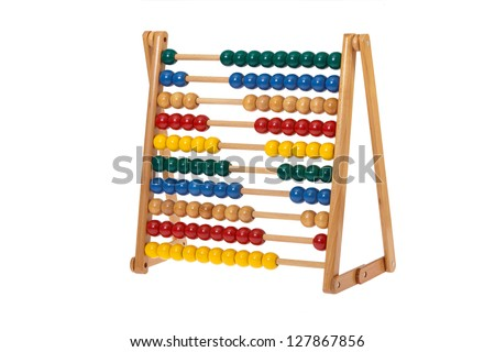 Traditional abacus with colorful wooden beads in front of white background