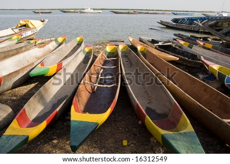 Traditional African Boats in Senegal - stock photo