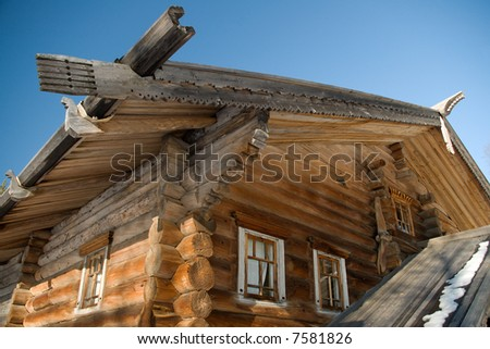 traditional aging architecture,roof of the old wooden building