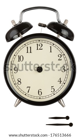 Traditional alarm clock with black face and separate hands to show anytime isolated on white. - stock photo