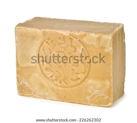 Traditional Aleppo soap from Syria on white background - stock photo