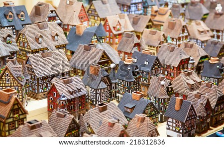 Traditional alsatian houses on the Christmas market - stock photo
