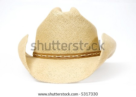 Traditional American straw hat of cowboy - stock photo