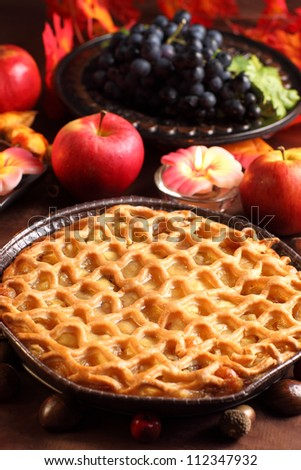 Traditional apple pie for Thanksgiving - stock photo