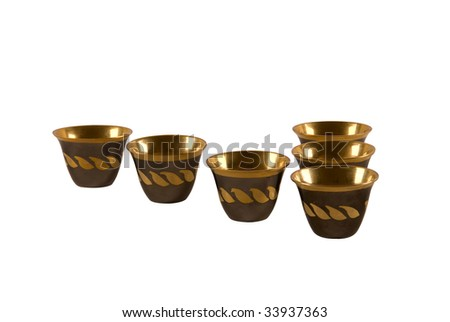Traditional arab coffee cups on white background - stock photo