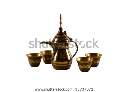 Traditional arab coffee set on white background - stock photo