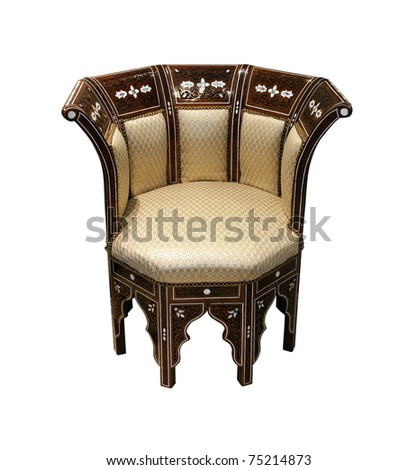 Traditional Arabic chair isolated with clipping path included