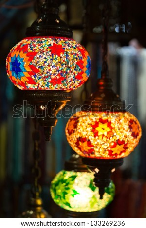 Traditional arabic lanterns on the market - stock photo